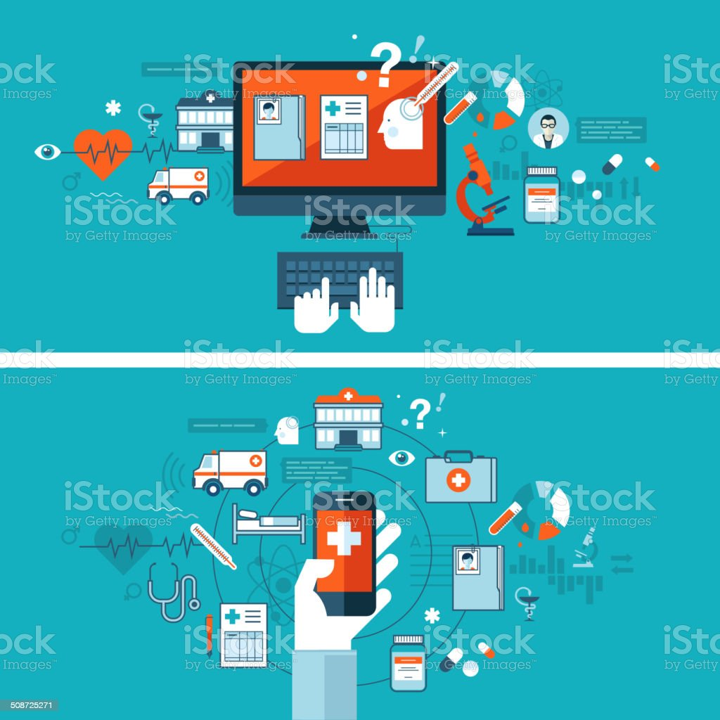 Online medical diagnosis and treatment vector art illustration