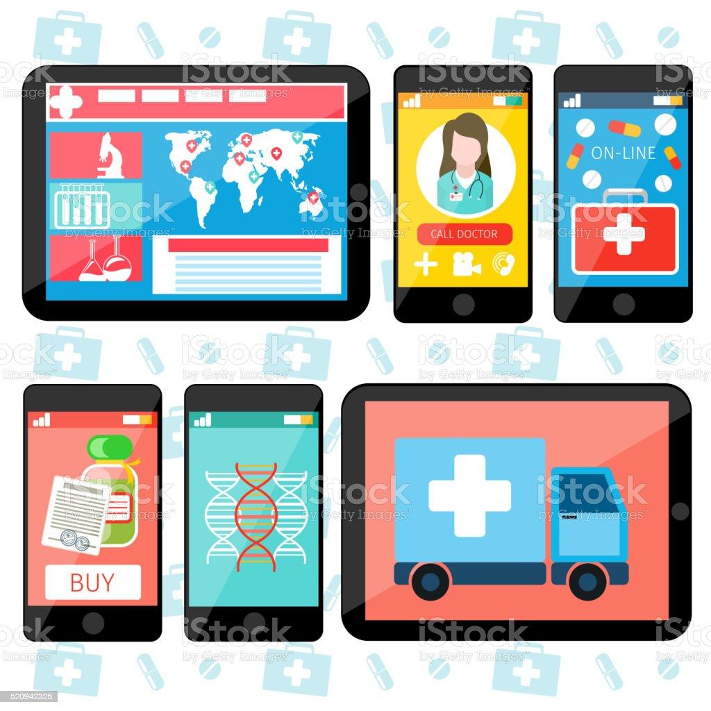 Online medical services vector art illustration