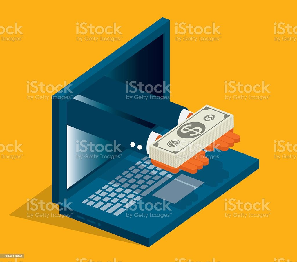 Online Money vector art illustration