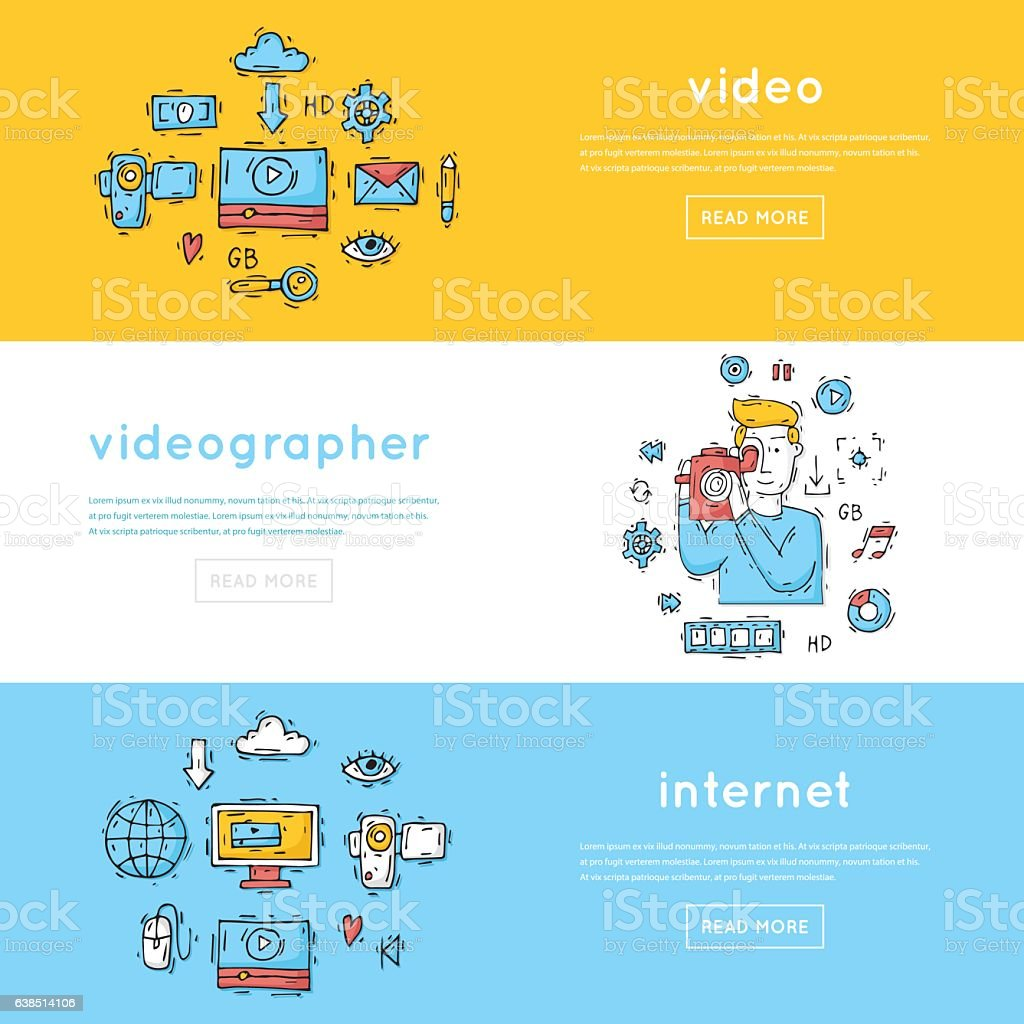 On-line Movies, post production, film and television collection, video-grapher. vector art illustration
