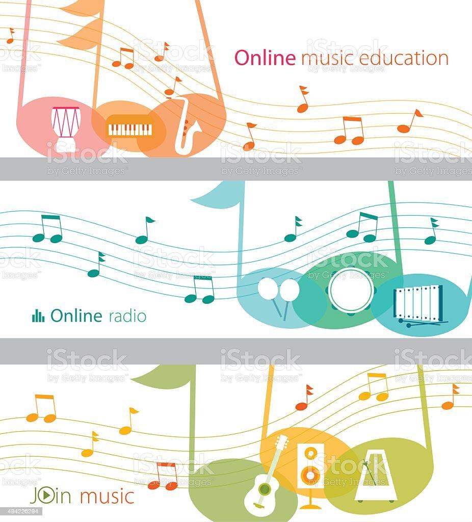 Online music banner set vector art illustration
