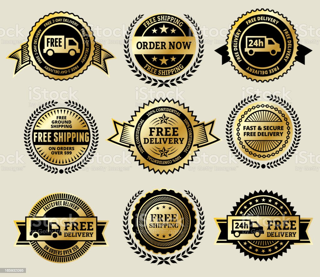 Online Order with Free Delivery gold Vector Icon badge set vector art illustration
