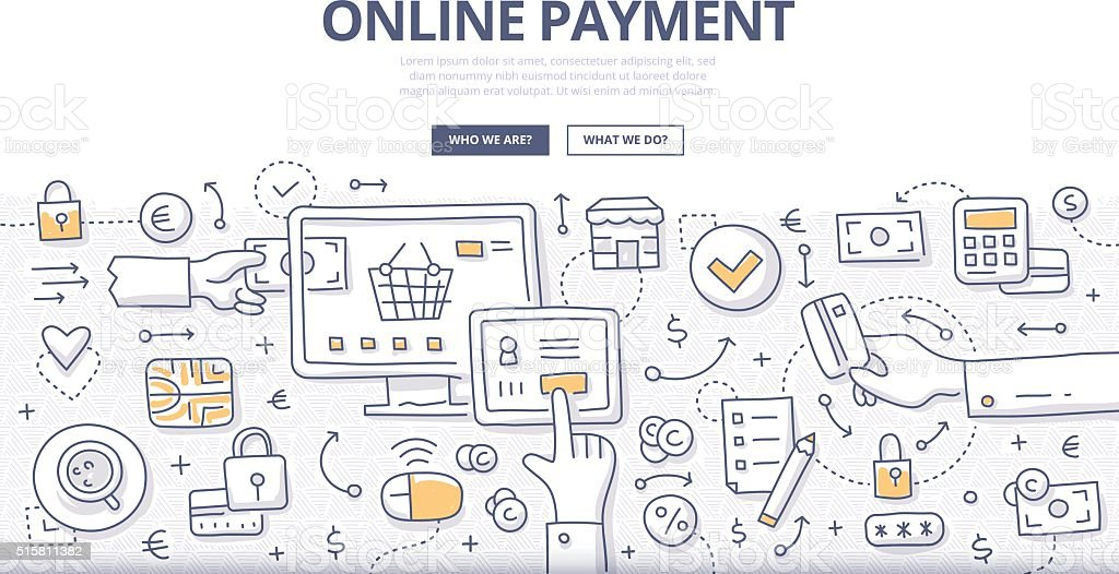 Online Payment Doodle Concept vector art illustration