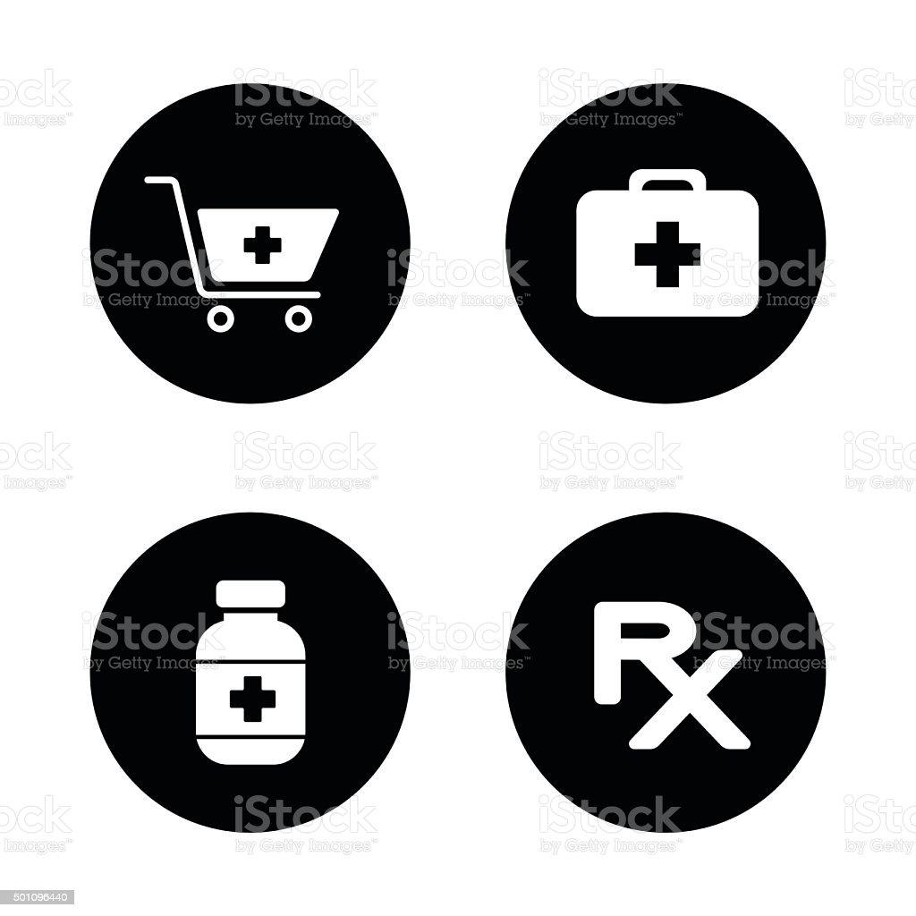 Online pharmacy black icons set vector art illustration