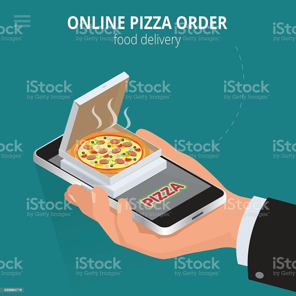 Online pizza vector art illustration