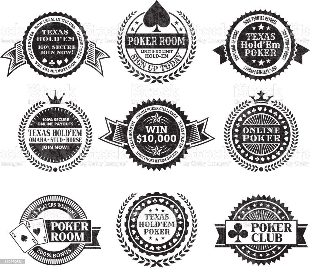 Online poker Texas Hold Em black & white icon set royalty-free stock vector art