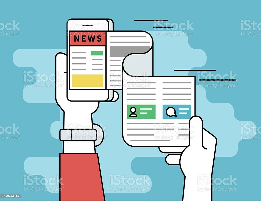 Online reading news vector art illustration