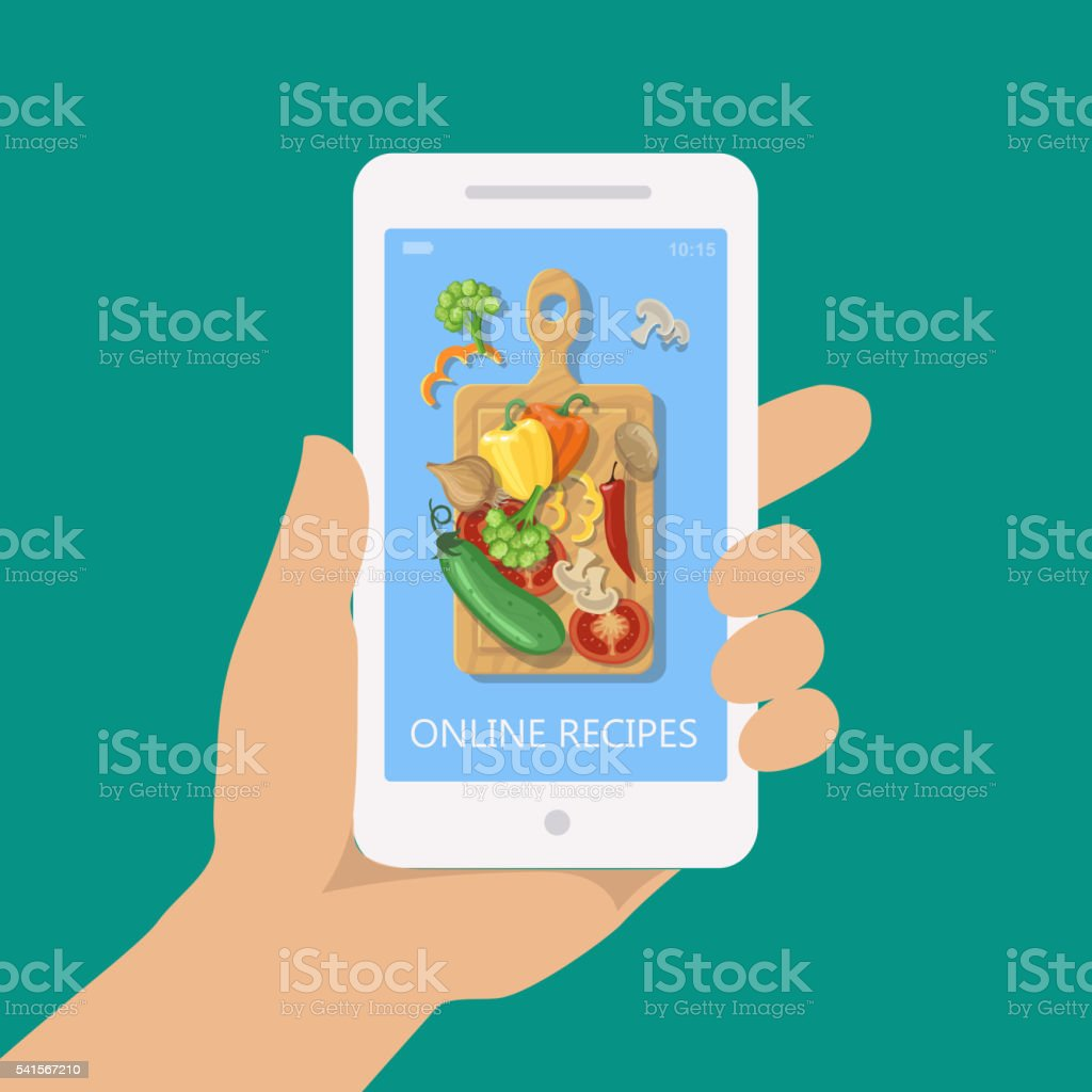 Online recipe vector on mobile phone in flat style vector art illustration
