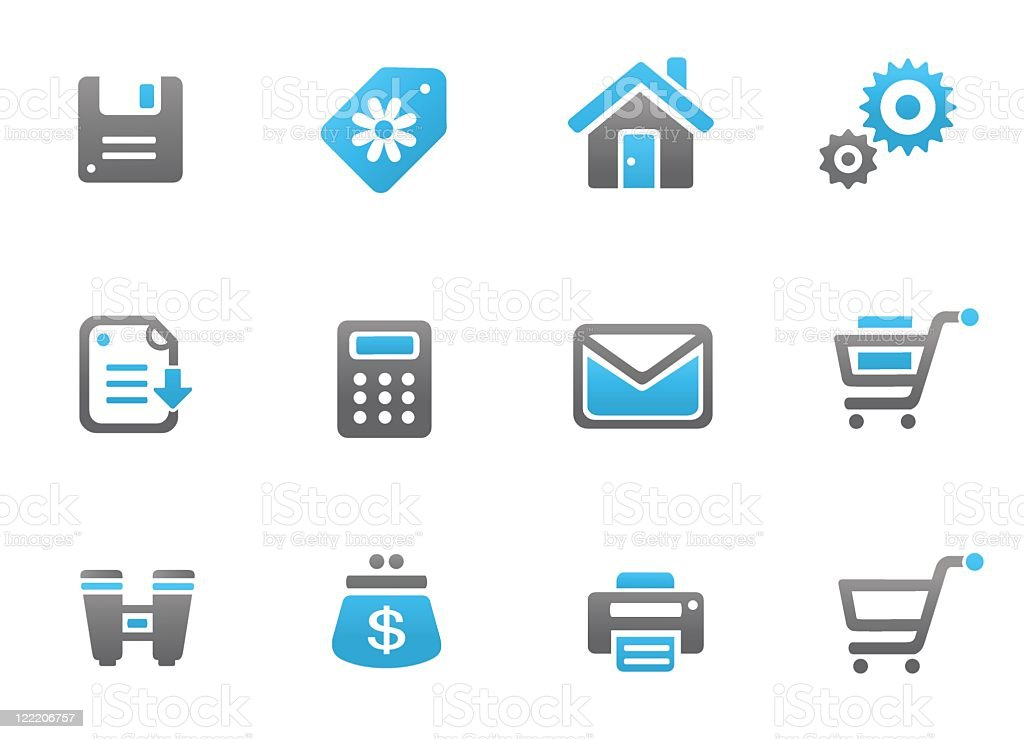 Web and commercial icons vector art illustration