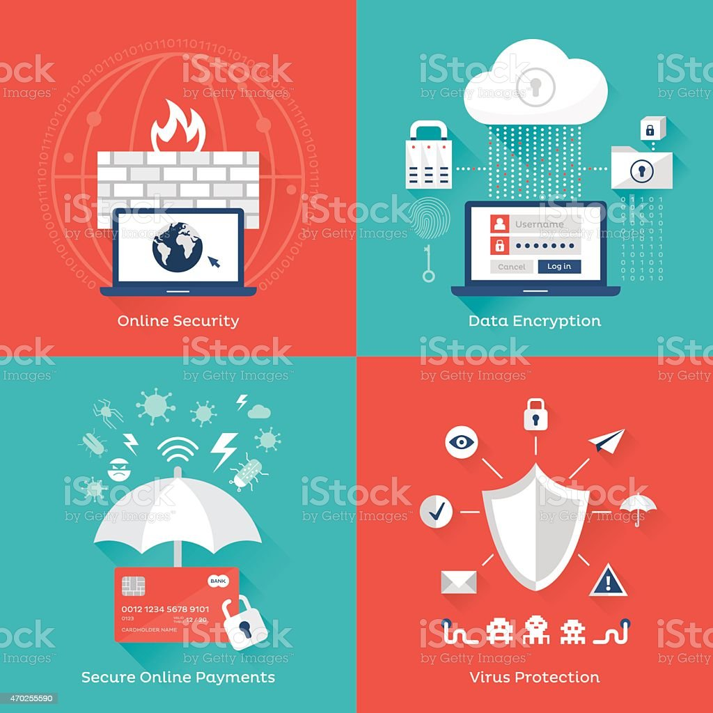 Online security vector art illustration