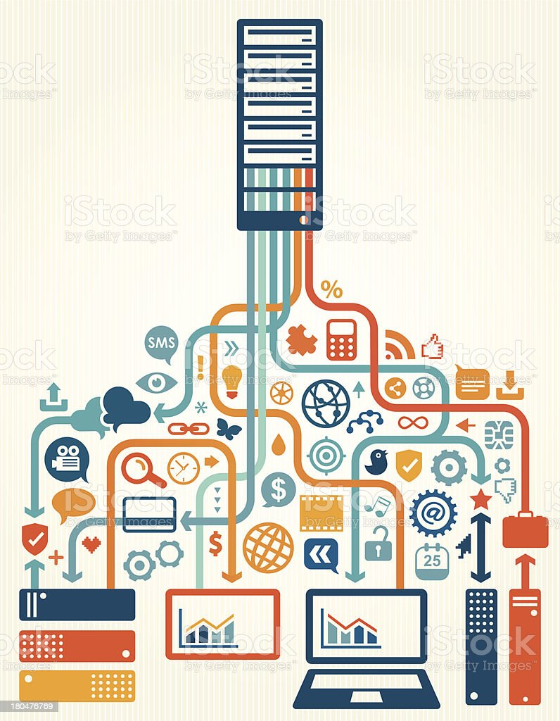Online Server Data Storage vector art illustration