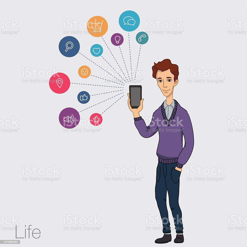 services en ligne du smartphone stock vecteur libres de droits libre de droits
