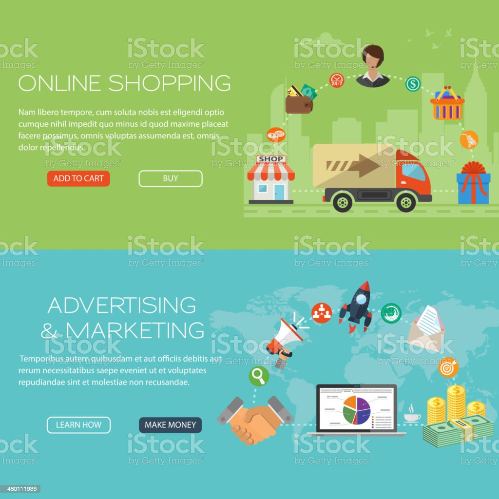 Online Shopping and Marketing Banners vector art illustration