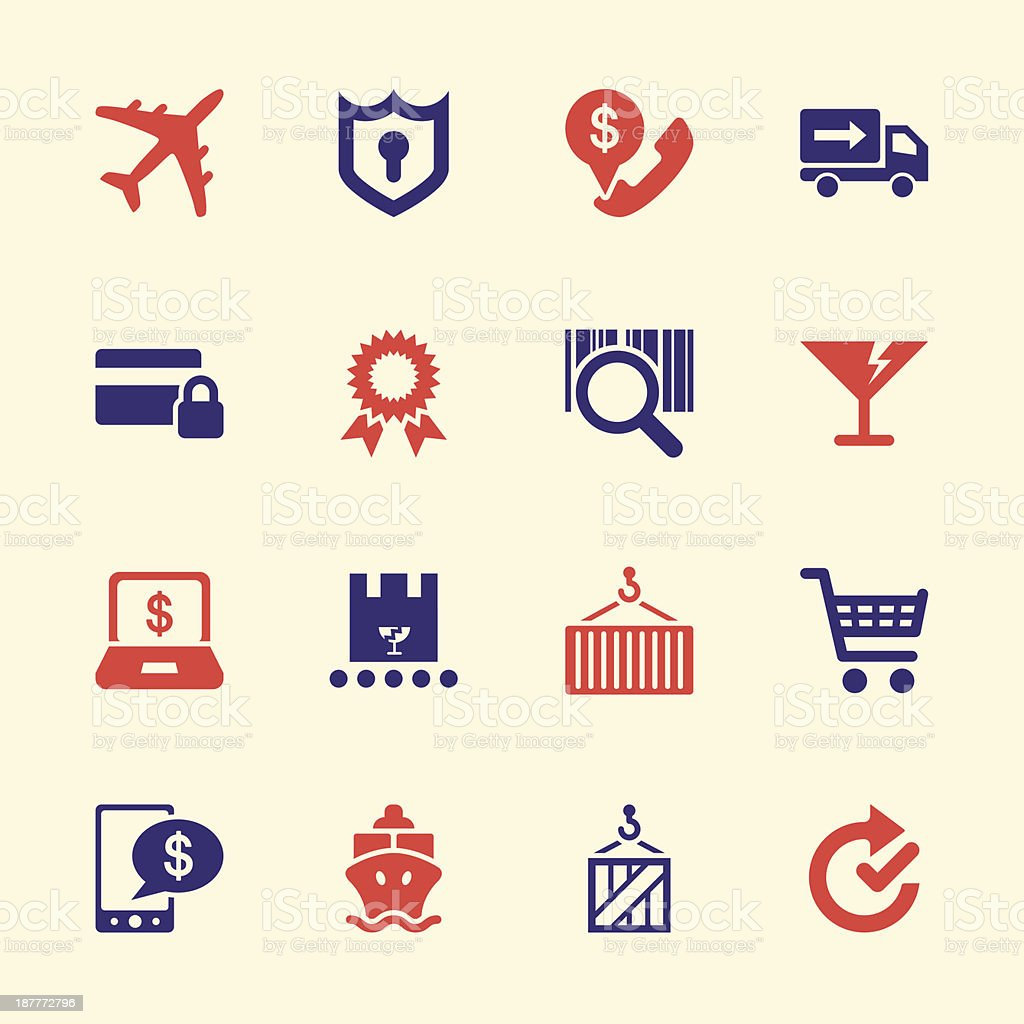 Online Shopping and Shipping Icons - Color Series | EPS10 royalty-free stock vector art