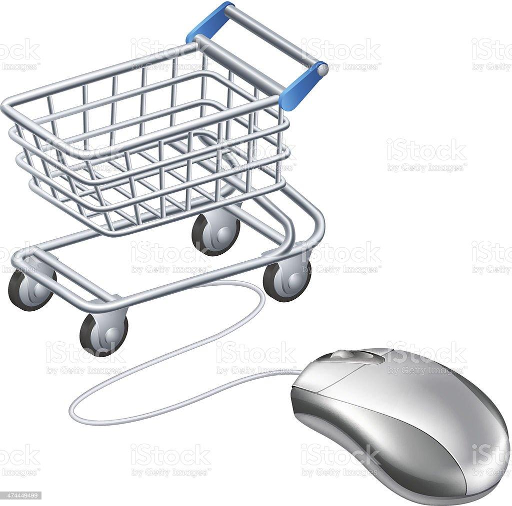 Online shopping cart mouse vector art illustration