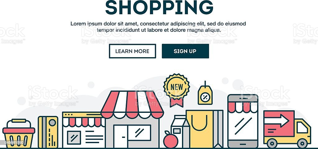 Online shopping, colorful concept header, flat design thin line style vector art illustration
