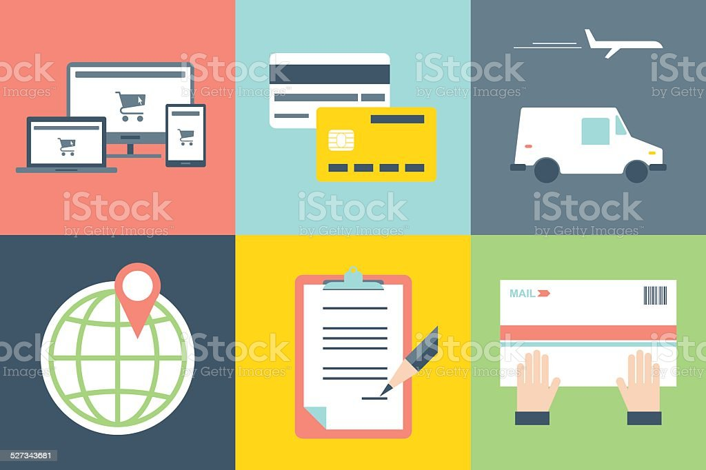 Online Shopping Concept Icons vector art illustration
