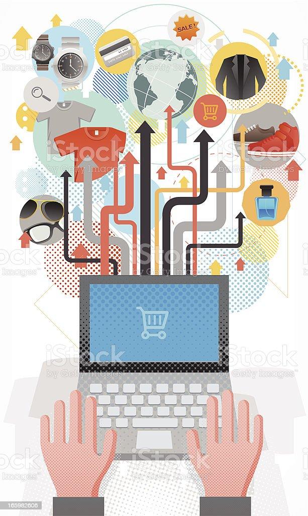 Online shopping concept vector art illustration