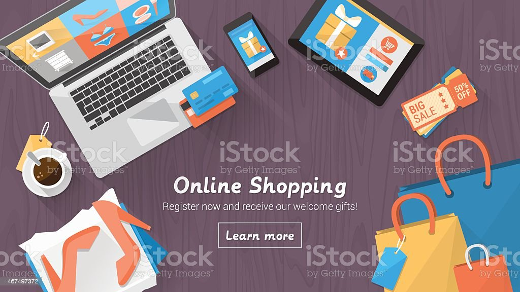Online shopping desktop vector art illustration