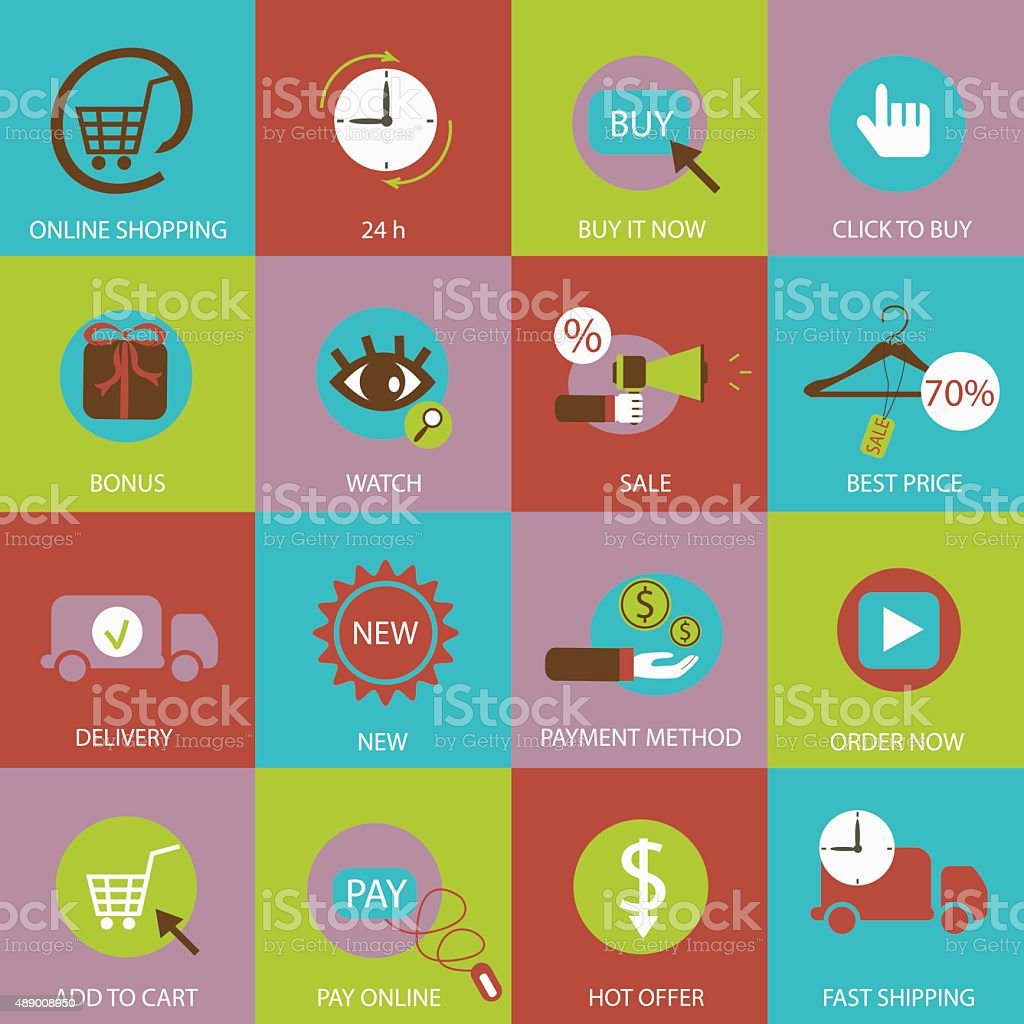Online shopping flat icons. vector art illustration