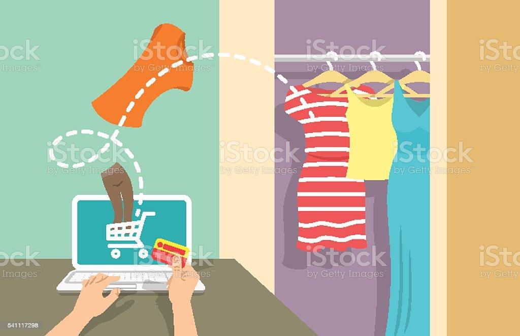 Online shopping flat vector banner vector art illustration