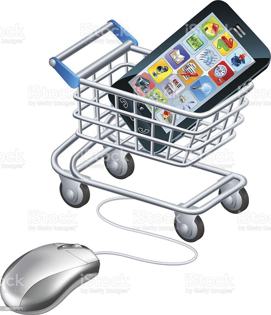 Online shopping for phone vector art illustration