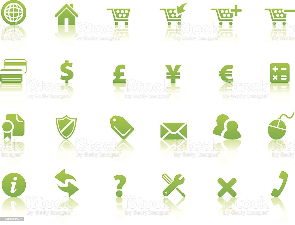 Online Shopping Icons (Reflection2) royalty-free stock vector art