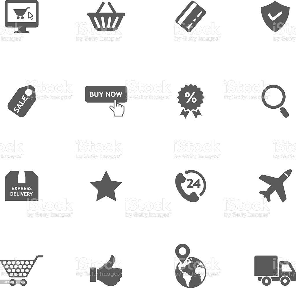Online shopping icons vector art illustration