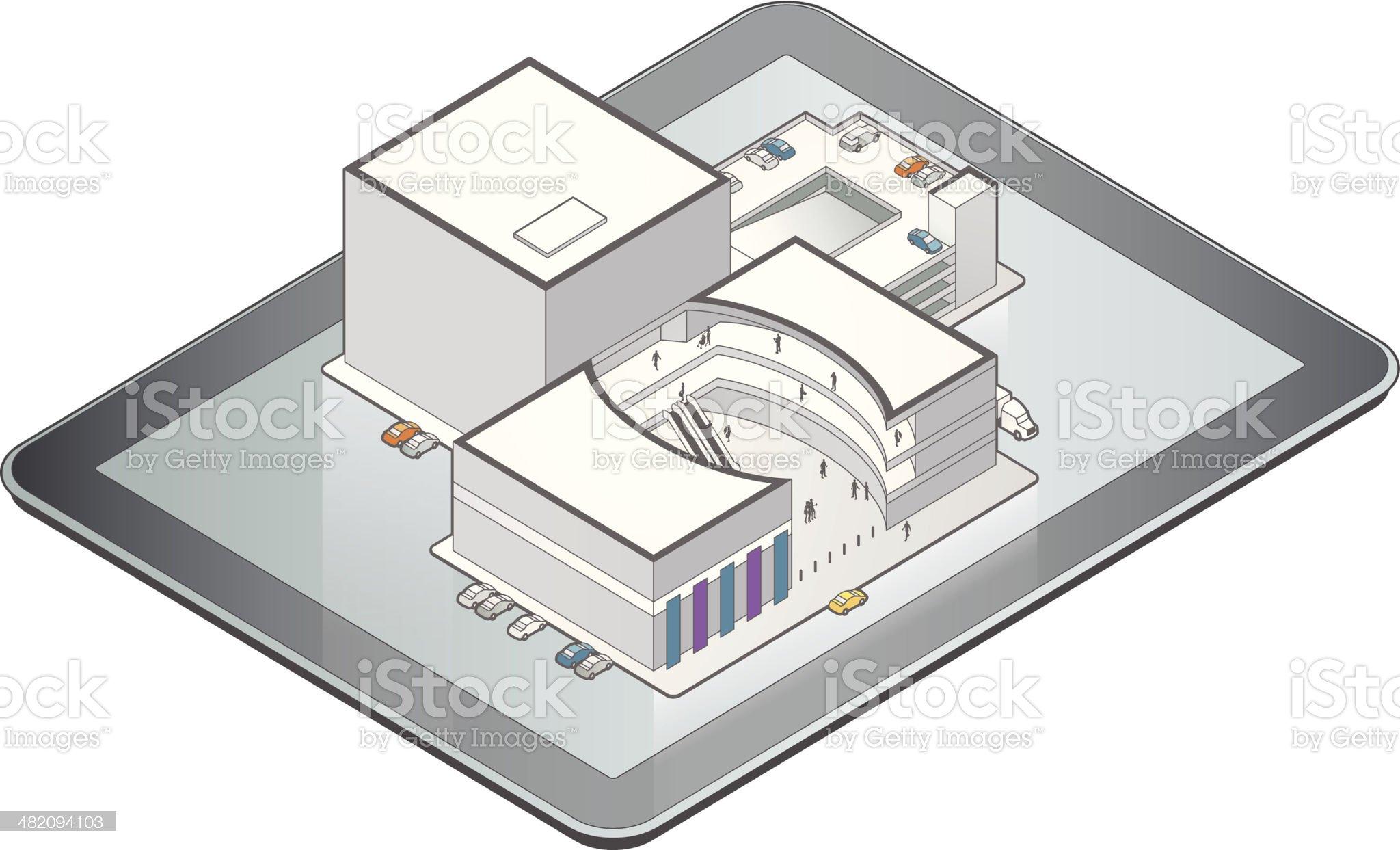 Online Shopping Mall Illustration royalty-free stock vector art