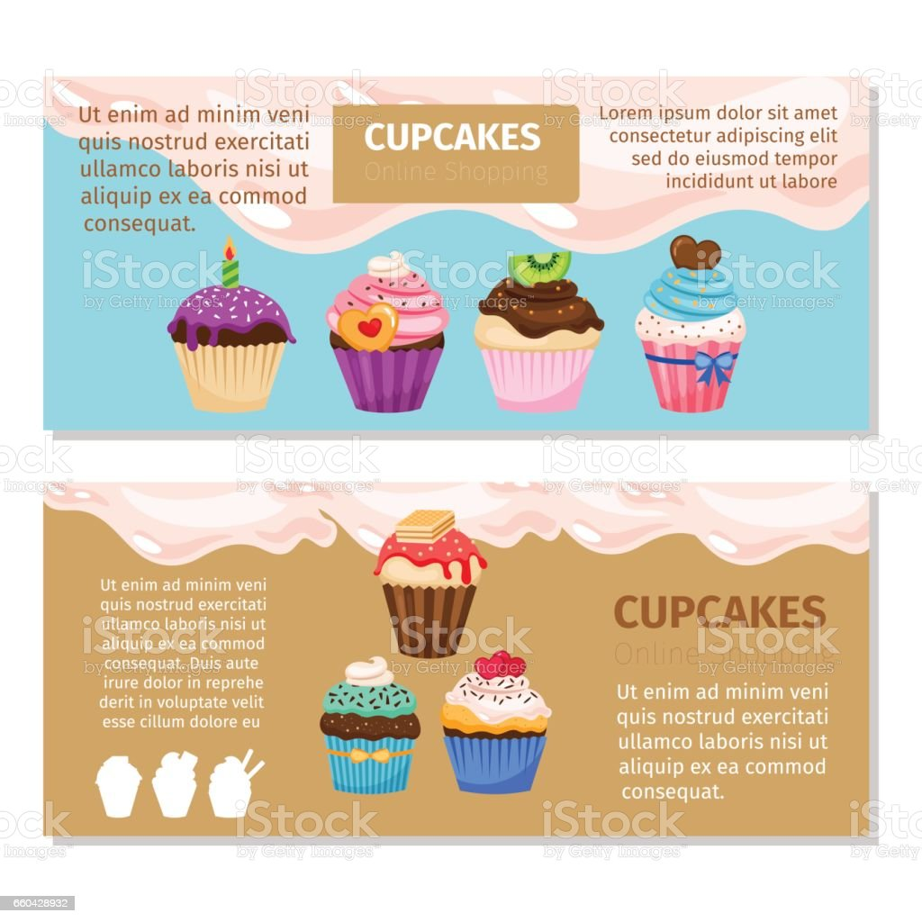 online shopping muffin flyers design stock vector art  bakery banner sign cream food retail place