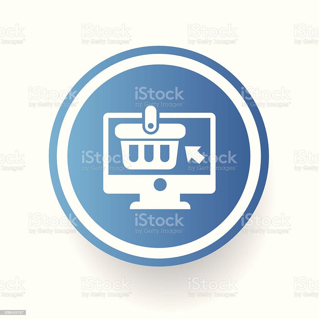 On-line shopping symbol on blue button vector art illustration