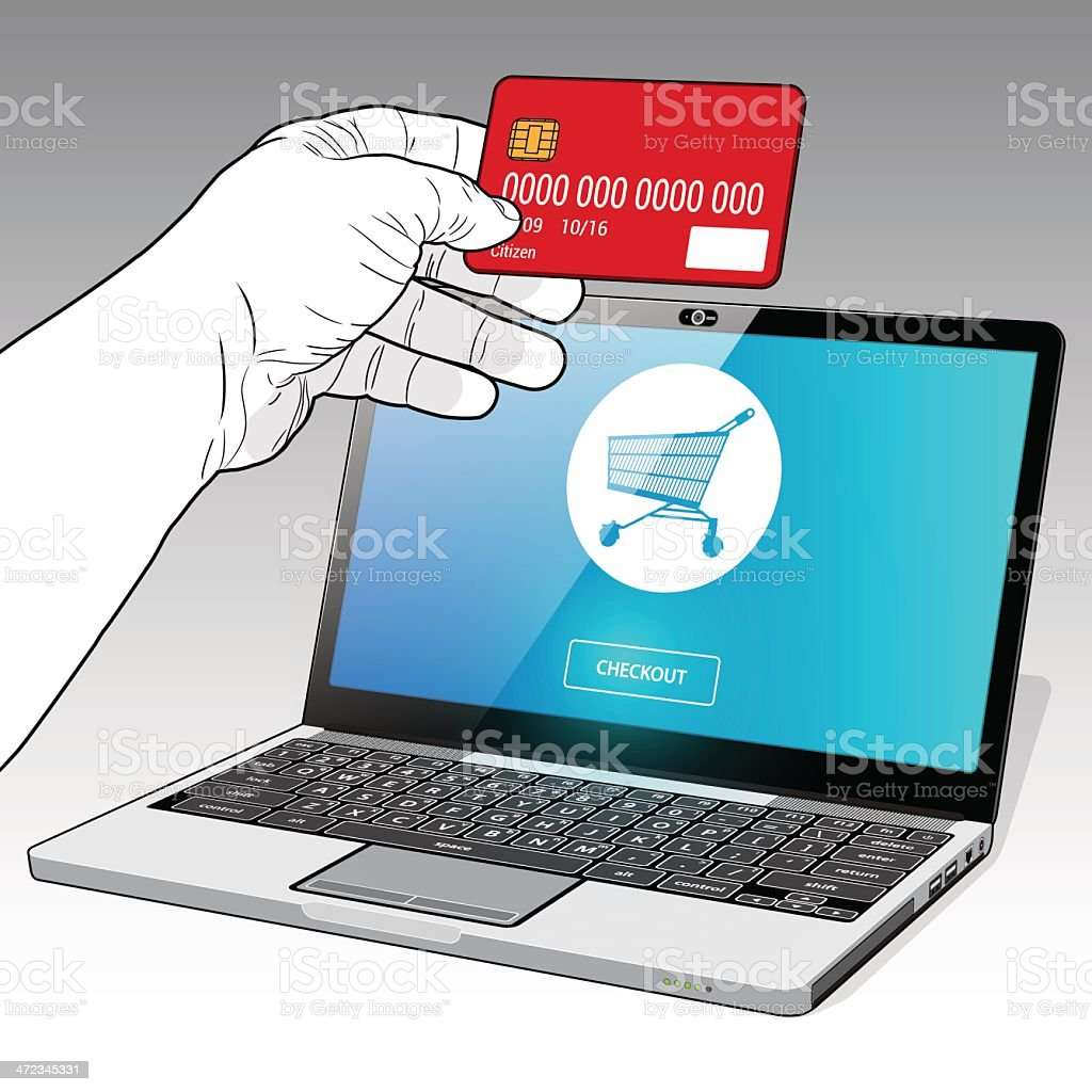 Online shopping with Credit royalty-free stock vector art