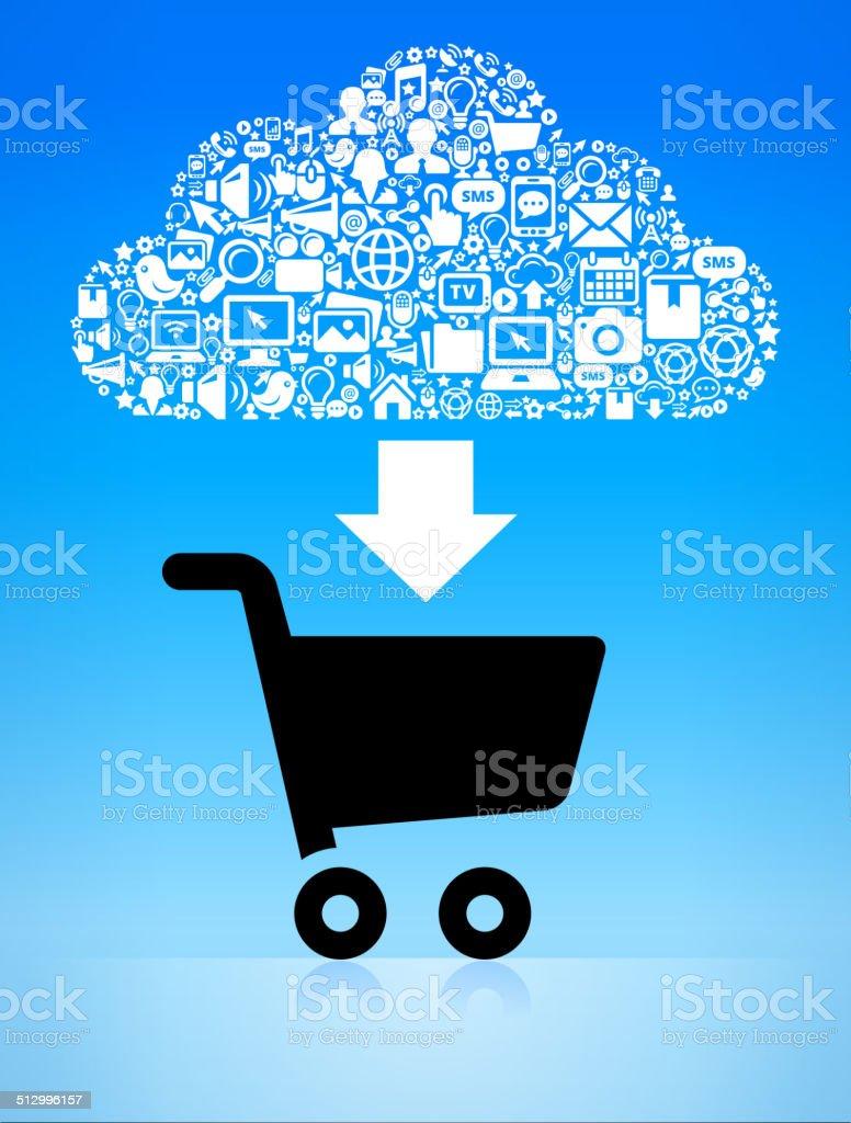Online Shopping with Modern Technology & Communication Cloud vector art illustration