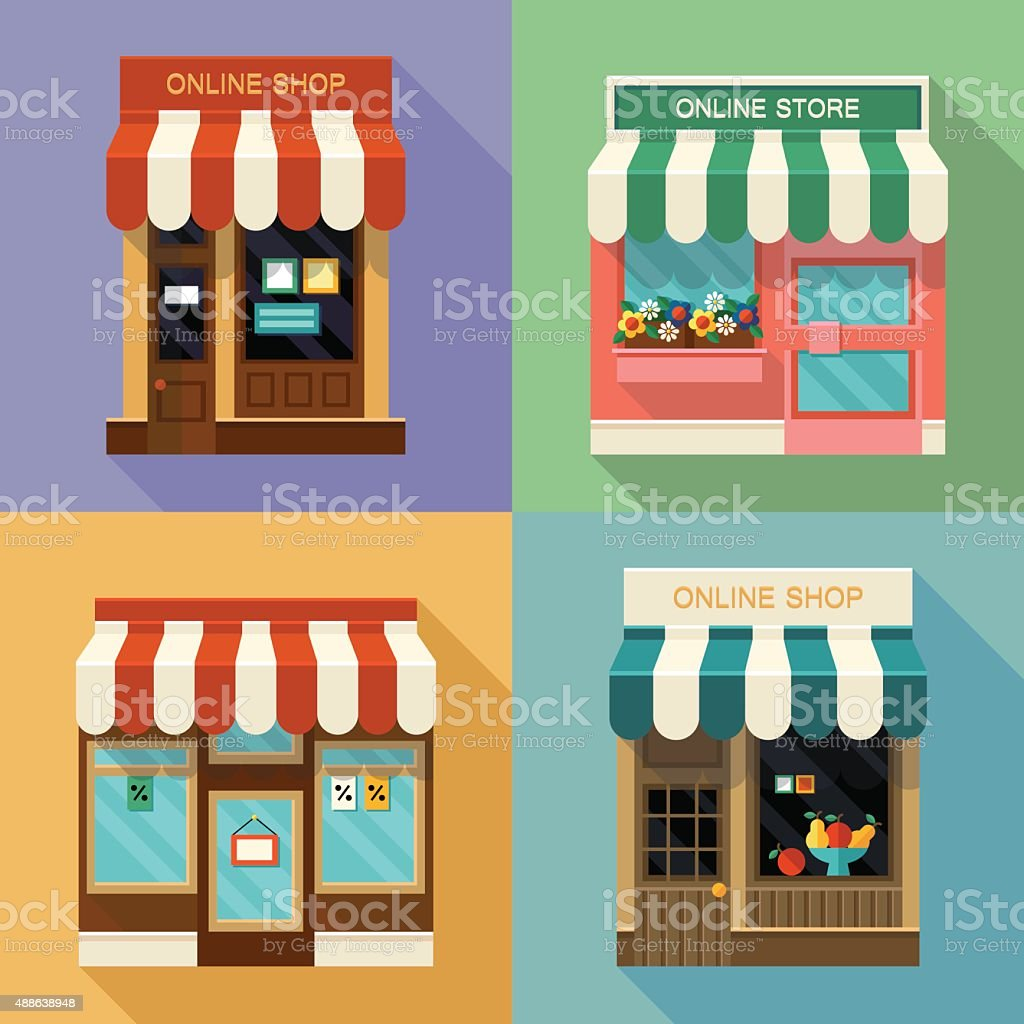 Online shops icons vector art illustration