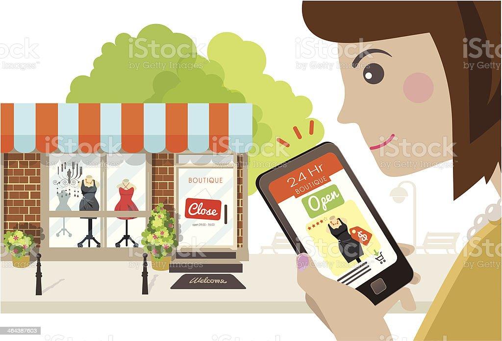 Online store is always open vector art illustration