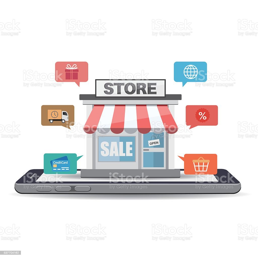 Online store on smartphone screen with shopping icons vector art illustration