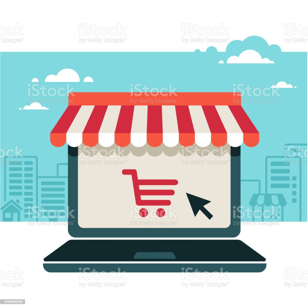 Online store. Sale, Laptop with awning vector art illustration