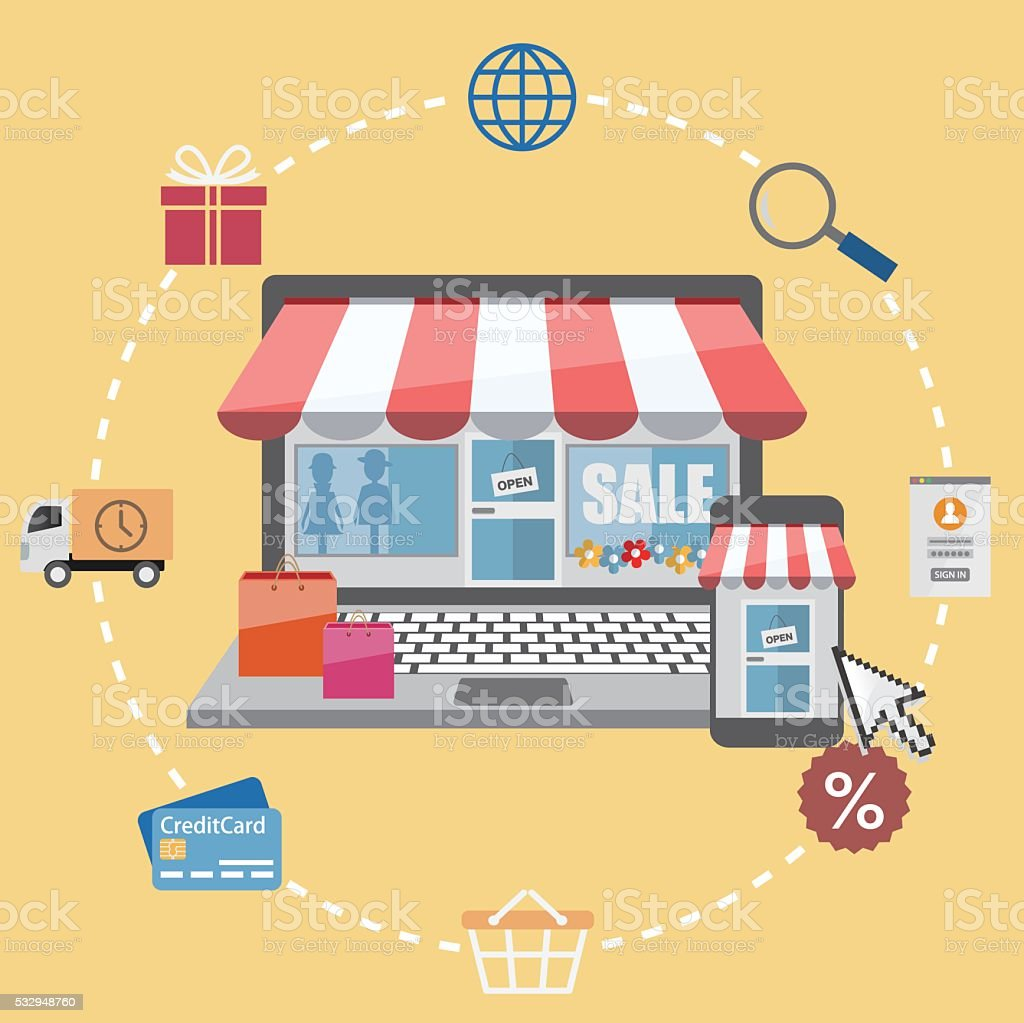 Online store with shopping icons vector art illustration