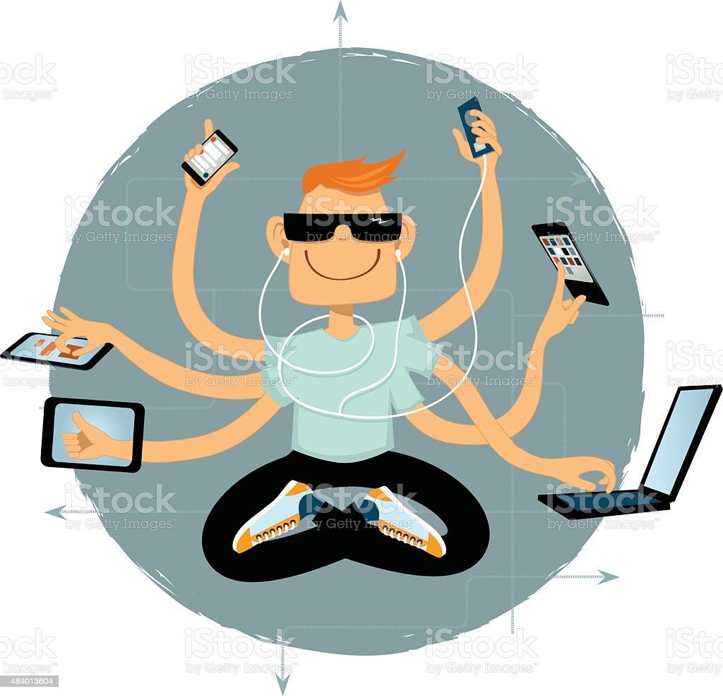 Online superhero vector art illustration
