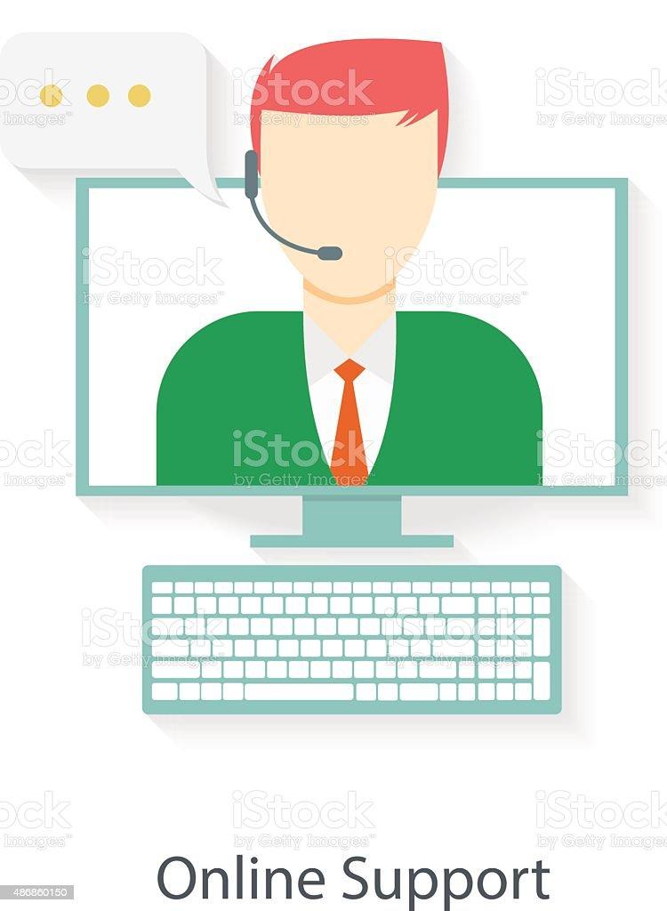 Online support in headset vector art illustration