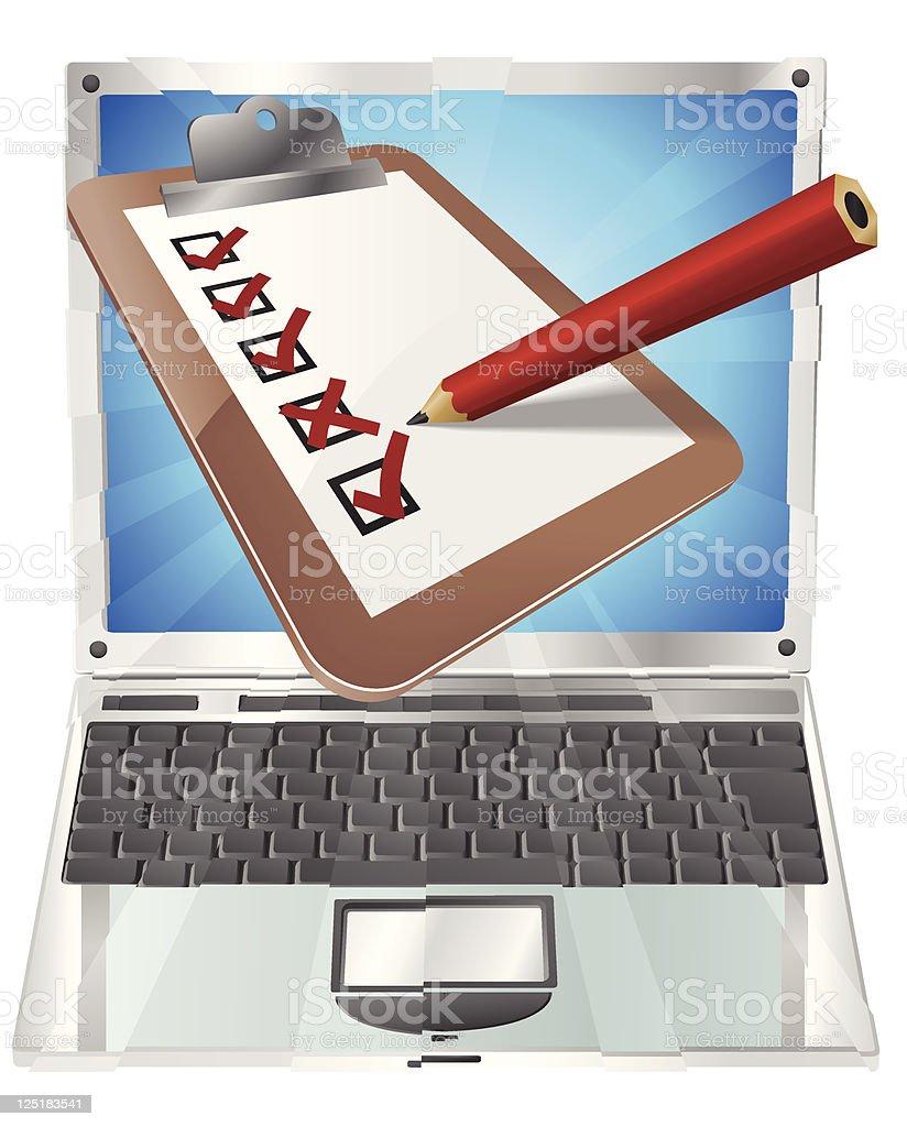 Online survey laptop clipboard concept royalty-free stock vector art