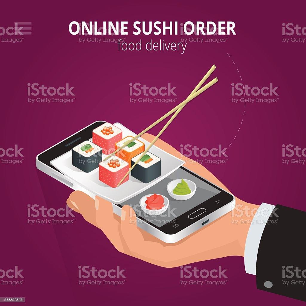 Online sushi vector art illustration