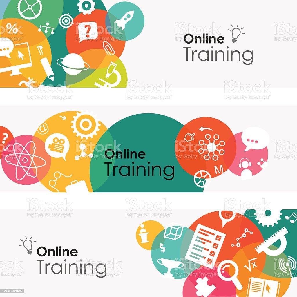 Online Training Banners vector art illustration