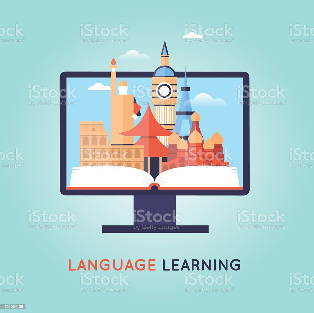 On-line Training Courses. Foreign language education online, internet lessons. vector art illustration