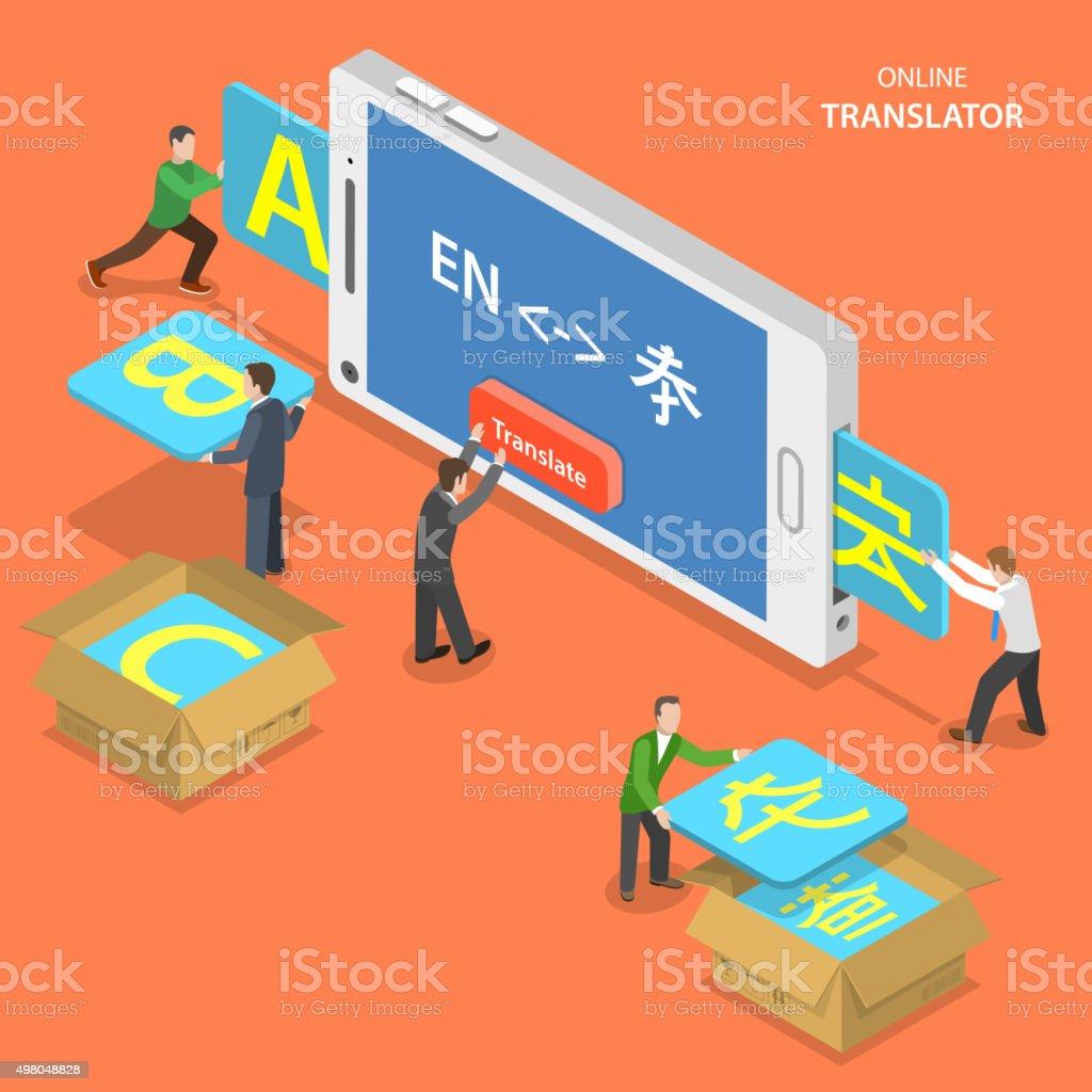 Online translator isometric flat vector concept. vector art illustration