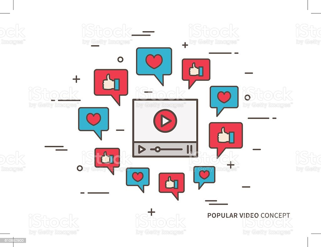 Online video player colorful vector illustration vector art illustration
