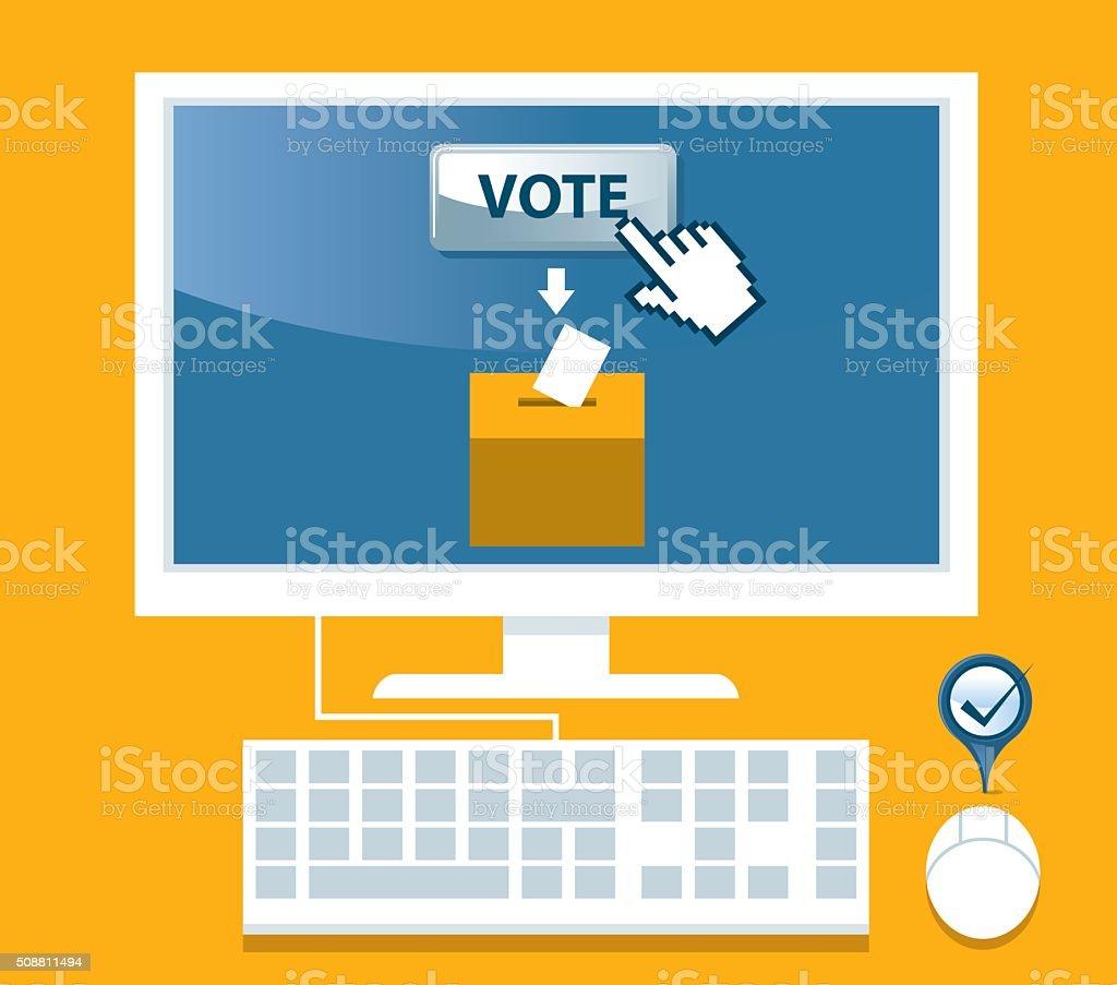 On-line Voting vector art illustration