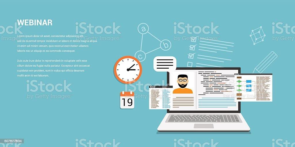 online webinar concept banner vector art illustration