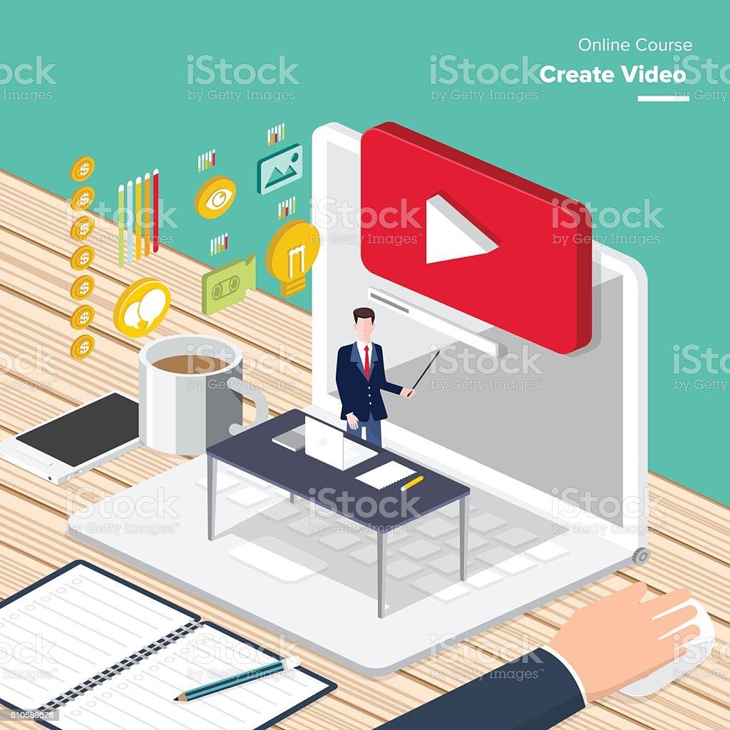 online_course vector art illustration