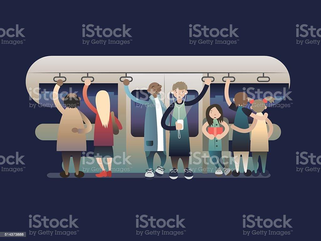Onlookers passengers in trasport vector art illustration